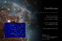 Certificate with star chart